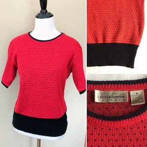 Vintage 90s Liz Claiborne red polka dots sweater